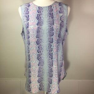 Equipment Femme Purple Snake Print Silk Blouse M